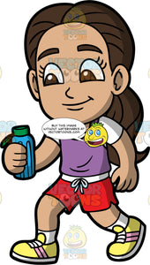 Young Isabella Going For A Walk. A Hispanic girl wearing red shorts, a purple tank top over a white t-shirt, and yellow running shoes, holding a water bottle while out walking