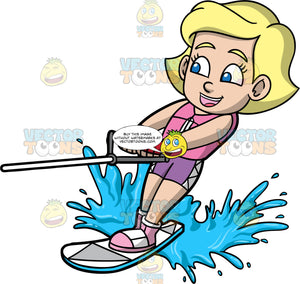 Young Mary Water Skiing On One Ski. A young blonde girl wearing purple swim shorts, and a pink life jacket, holds onto a handle as she is pulled behind a boat on one water ski