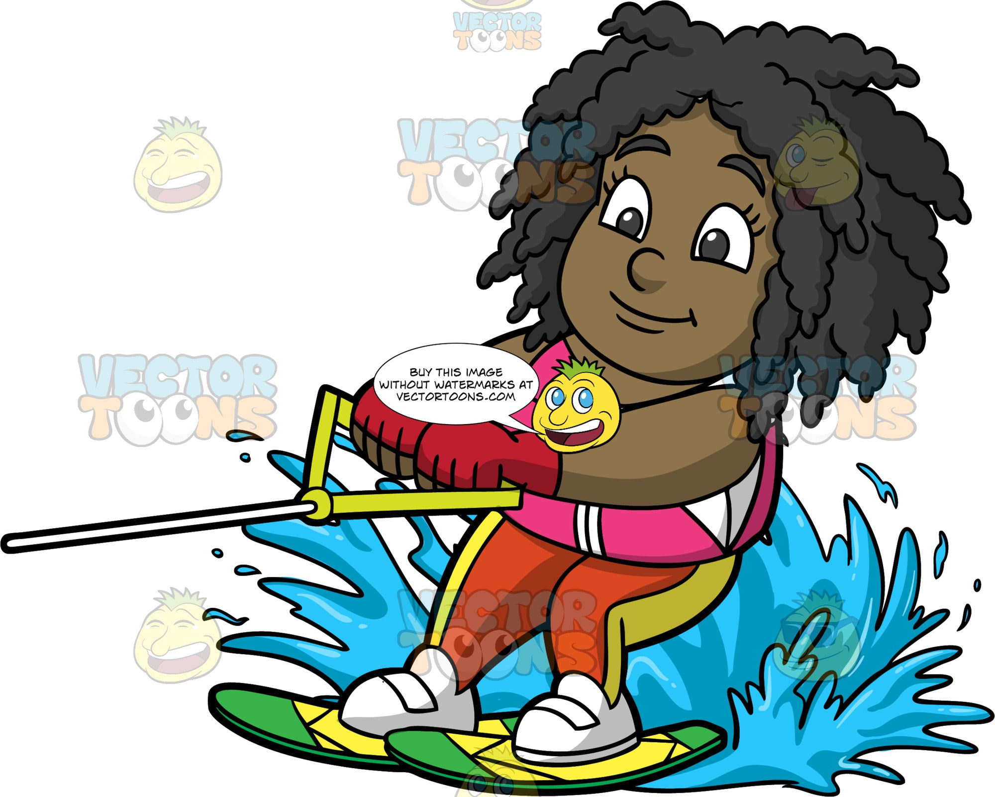 Young Lisa Water Skiing. A young black girl wearing an orange and yellow wet suit, and a pink life vest, holds onto a handle as she skis behind a boat