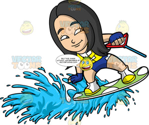 Young Connie Enjoying Her Time Water Skiing. A young Asian girl wearing blue swim shorts, and a yellow life jacket, smiles as she water skis on one ski