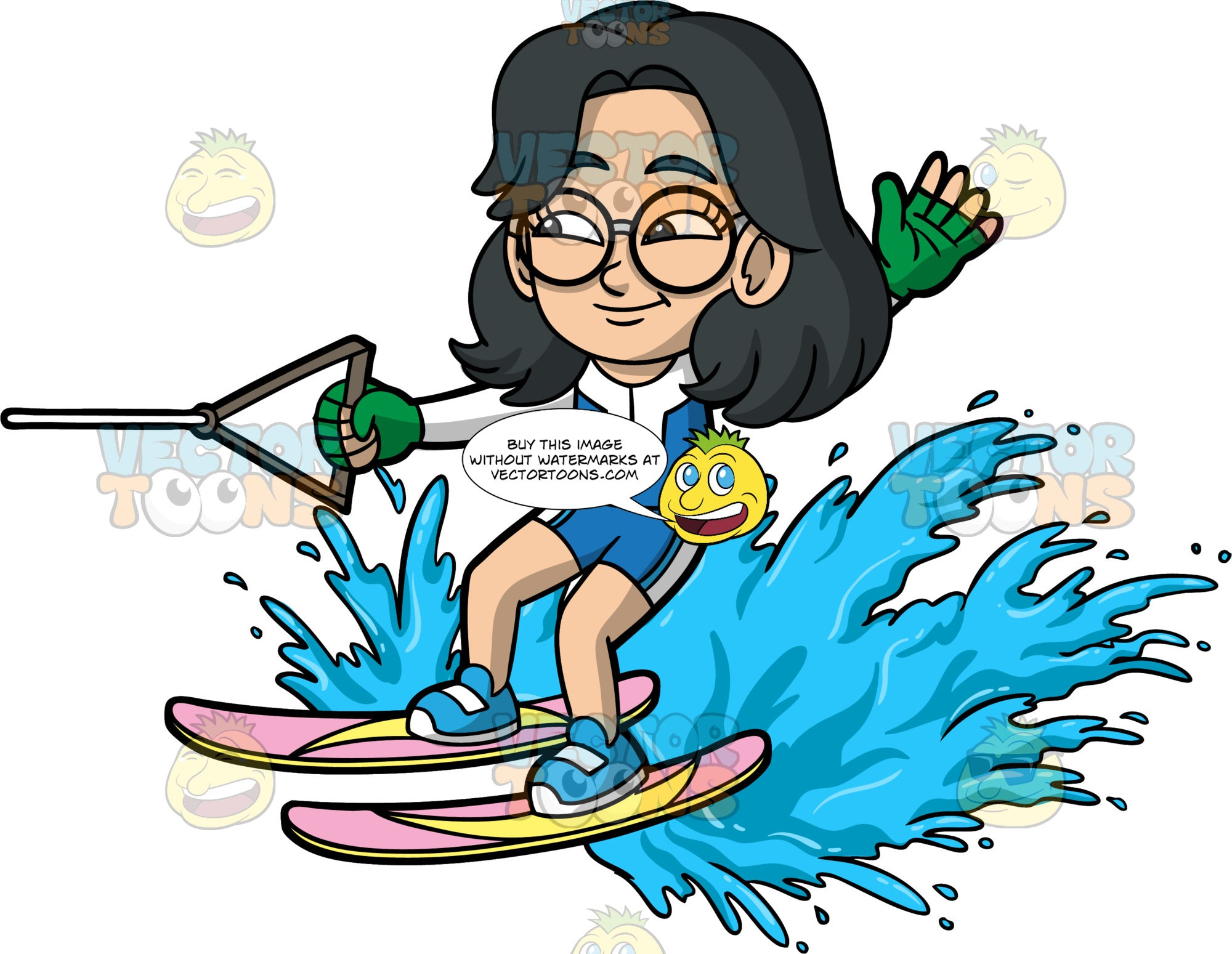 Young Lynn Water Skiing. A young Asian girl wearing a blue and white wet suit, and round eyeglasses, holding onto a handle with one hand as she is pulled behind a boat on water skis