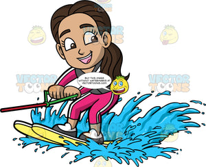 Young Isabella Learning How To Water Ski. A young Hispanic girl wearing a pink wet suit, and a dark gray life jacket, smiles as she skims along the water on yellow water skis