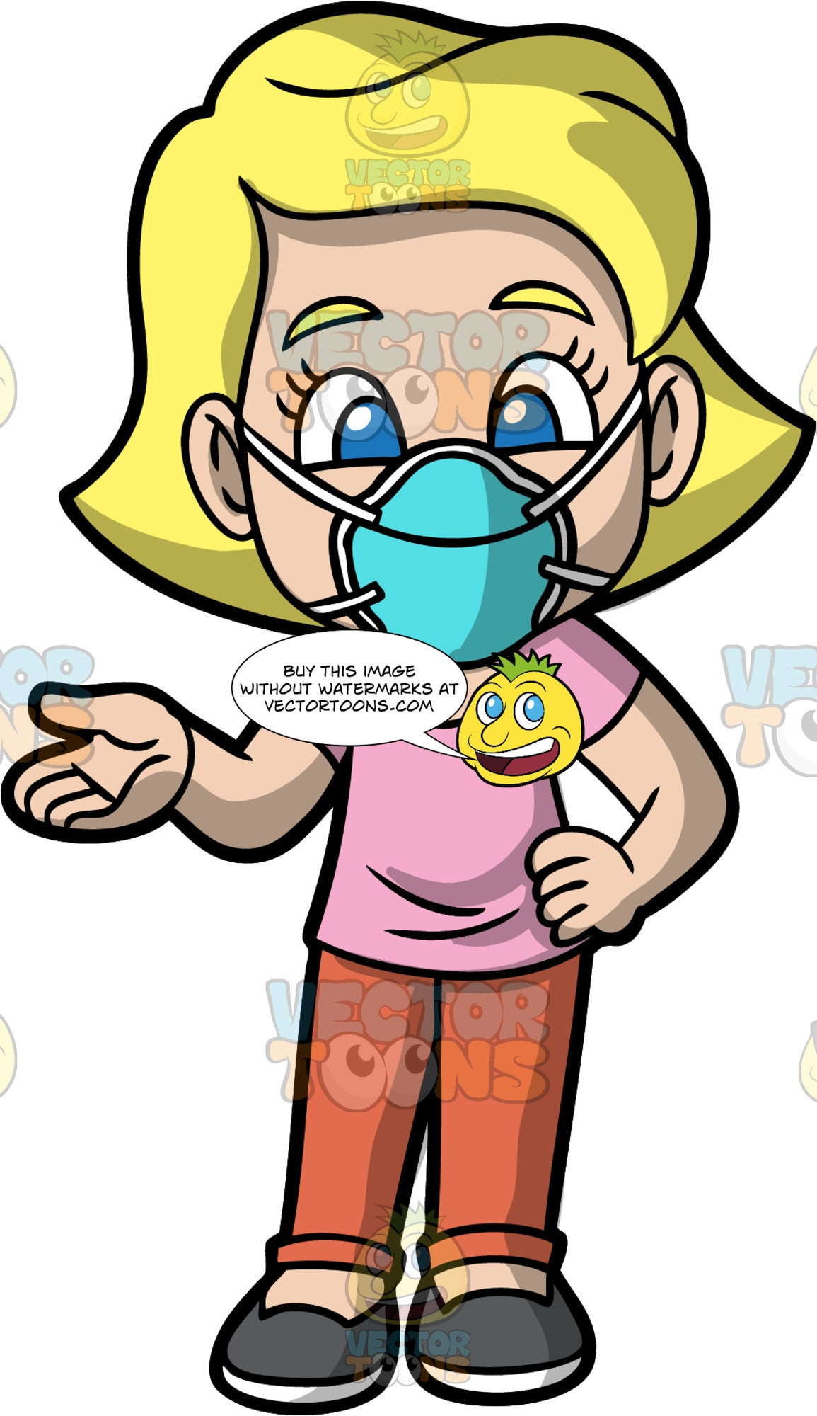 Young Mary Wearing A Blue Face Mask. A blond girl wearing burnt orange pants, a pink t-shirt, dark gray shoes, and a blue protective face mask, standing with one hand on her hip and the other out to the side