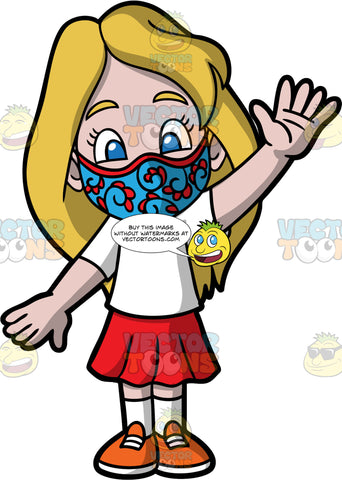 Young Stacey Wearing A Blue And Red Face Mask. A girl wearing a red skirt, a white t-shirt, orange shoes, and a blue face mask with red designs on it, standing and waving to someone
