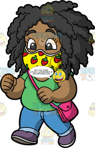 Young Lisa Going For A Walk With A Face Mask On. A black girl wearing blue jeans, a green t-shirt, purple shoes, a pink purse, and a yellow face mask with strawberries on it, walking down the street