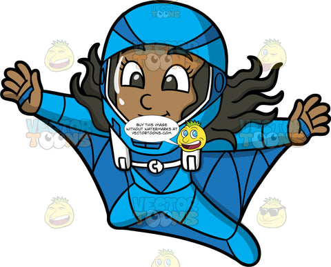 Young Maggy Flying In A Wingsuit. A young black girl wearing a full face blue helmet, spreads her arms and legs while flying through the air in her blue wingsuit