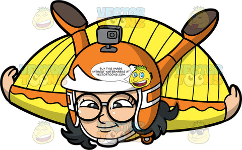 Young Lynn Flying In A Wingsuit. A young Asian girl wearing an orange and white helmet, a yellow and orange wingsuit, and round eyeglasses, having fun soaring through the sky
