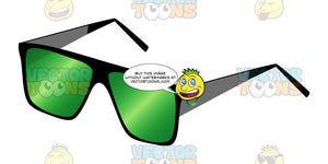 Thick Armed Black Frammed Curved Green Tinted Lenses Glasses