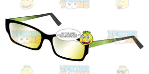 Rectangle Lenses Glasses Frame With Slight Yellow Tint To Lenses