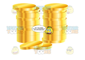 Double Stack Of Gold Coins