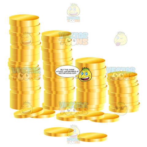 Four Stacks Of Gold Coins