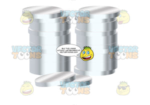 Two Stacks Of Silver Coins