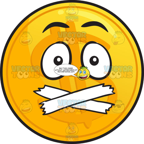 Sealed Mouth Golden Coin Emoji