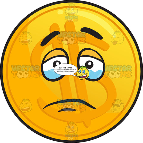 Tearful Golden Coin Emoji