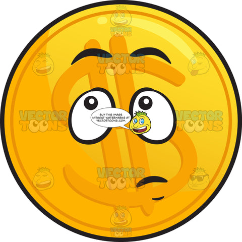 Wondering Golden Coin Emoji