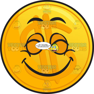 Pleasantly Contented Golden Coin Emoji