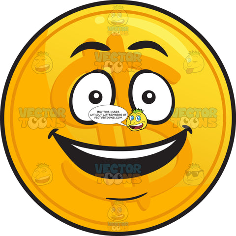 Delighted Golden Coin Emoji
