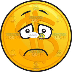 Depressed Golden Coin Emoji