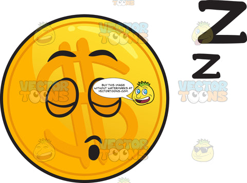 Sleeping Golden Coin Emoji
