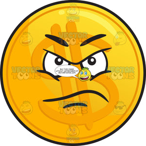 Displeased Golden Coin Emoji
