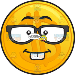 Nerdy Golden Coin Emoji