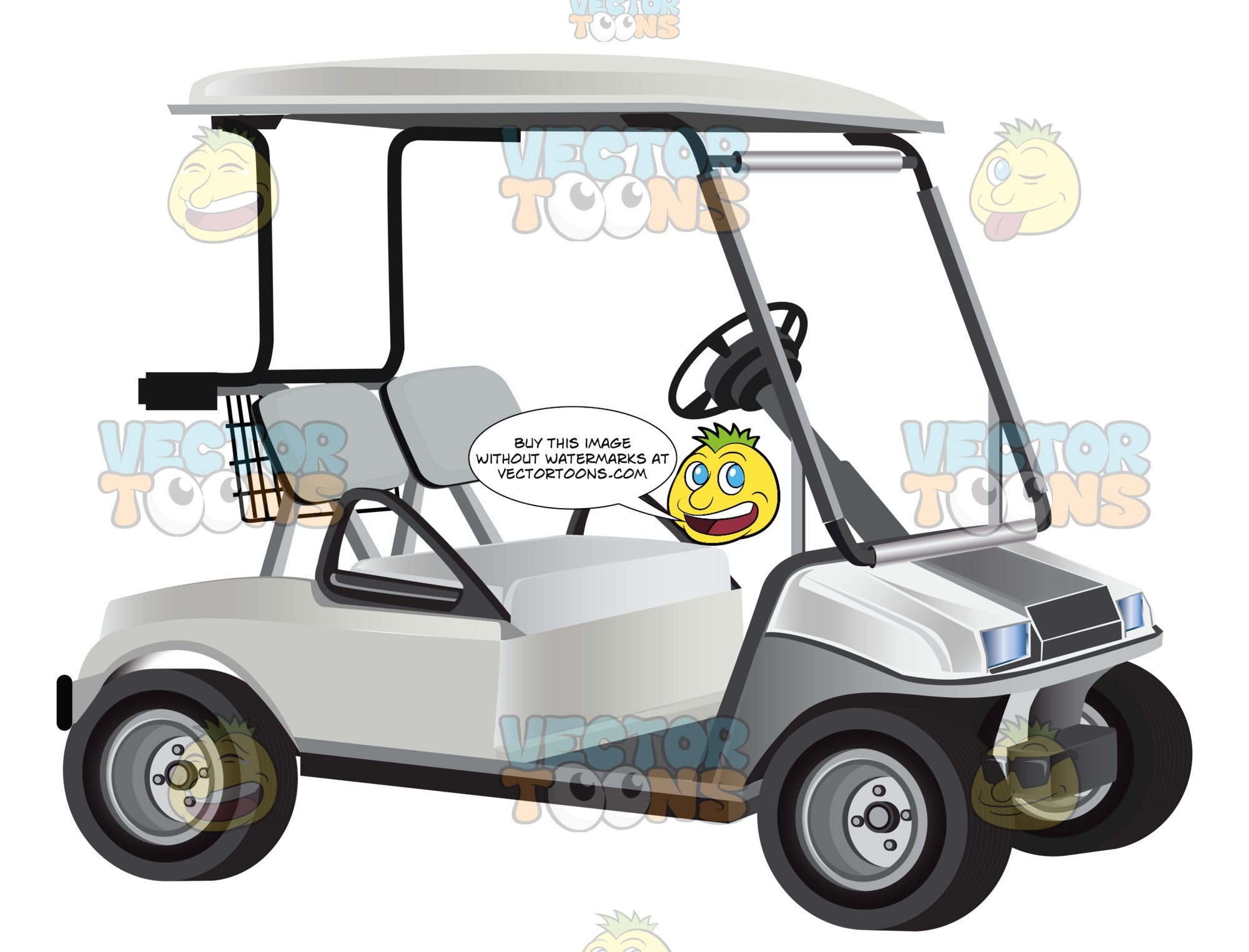 White Golf Cart With Two Seats