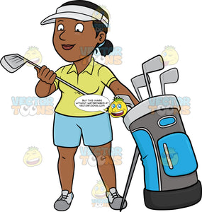 A Black Female Golfer Inspecting Her Golf Club
