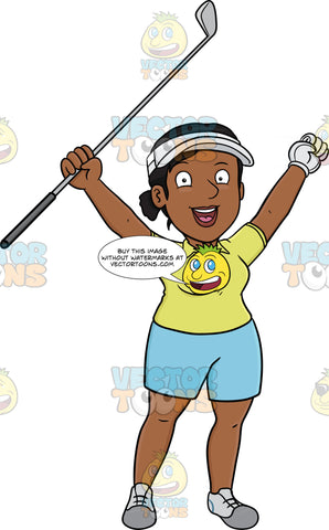 A Black Female Golfer Rejoices After Putting The Golf Ball Into The Hole