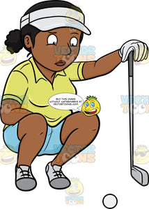 A Black Female Golfer Estimates And Studies A Golf Ball Just Before Making A Putt