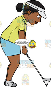 A Black Female Golfer Preparing To Tee Off A Ball
