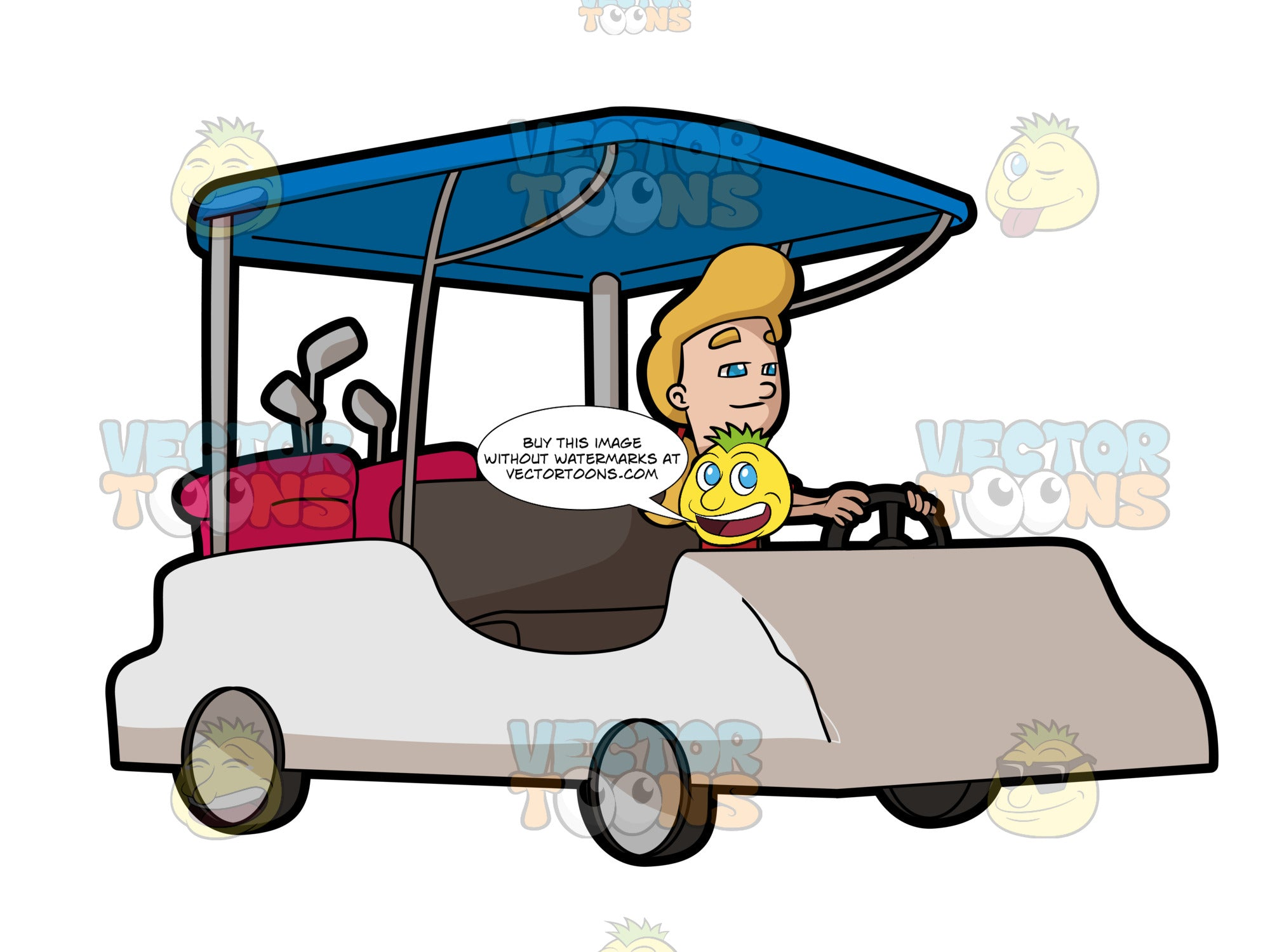 A Woman Driving A Golf Cart To Go To The Fairways Clipart Cartoons By Vectortoons