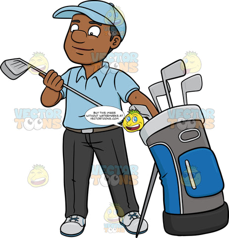 A Black Golfer Inspecting His Golf Club