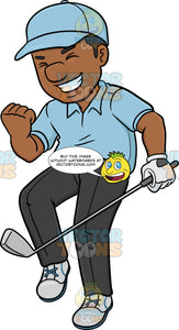 A Black Golfer Pumps Up His Fist After Putting The Ball In The Hole