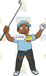 A Black Golfer Rejoices After Putting The Golf Ball Into The Hole