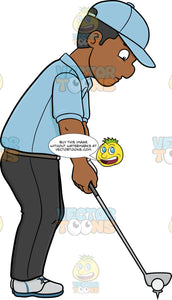 A Black Golfer Preparing To Tee Off A Ball