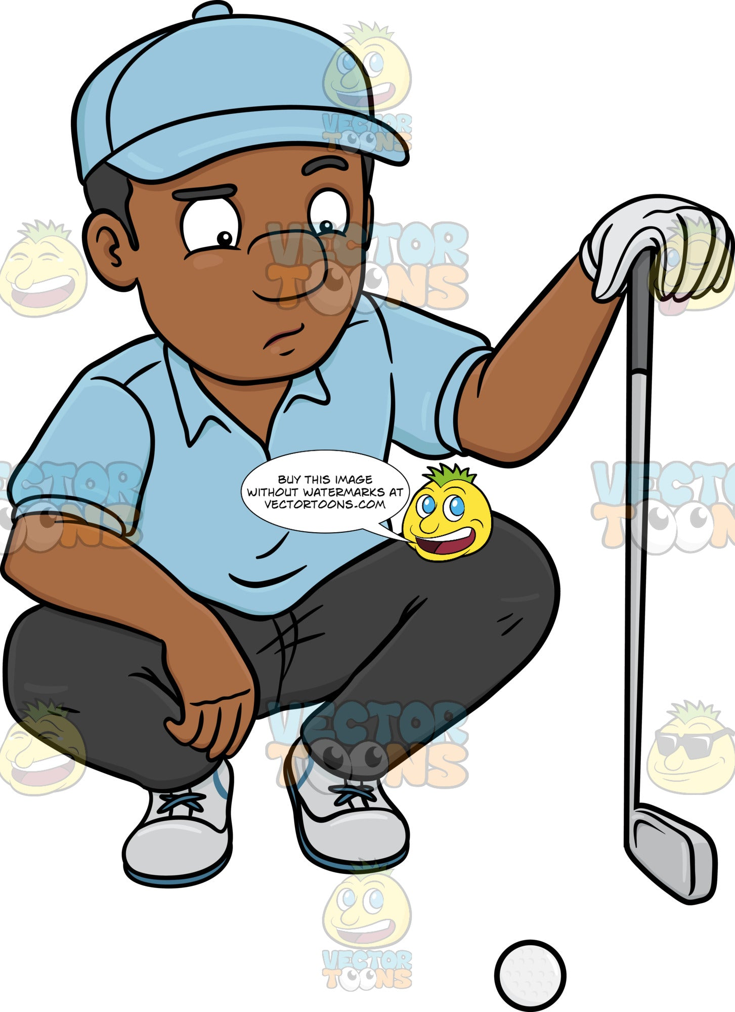 A Black Golfer Estimates And Studies A Golf Ball Just Before Making A Putt