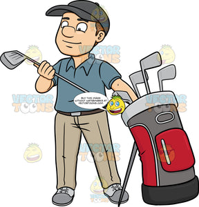 A Golfer Inspecting His Golf Club