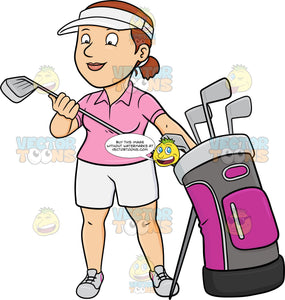 A Female Golfer Inspecting Her Golf Club