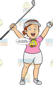 A Female Golfer Rejoices After Putting The Golf Ball Into The Hole
