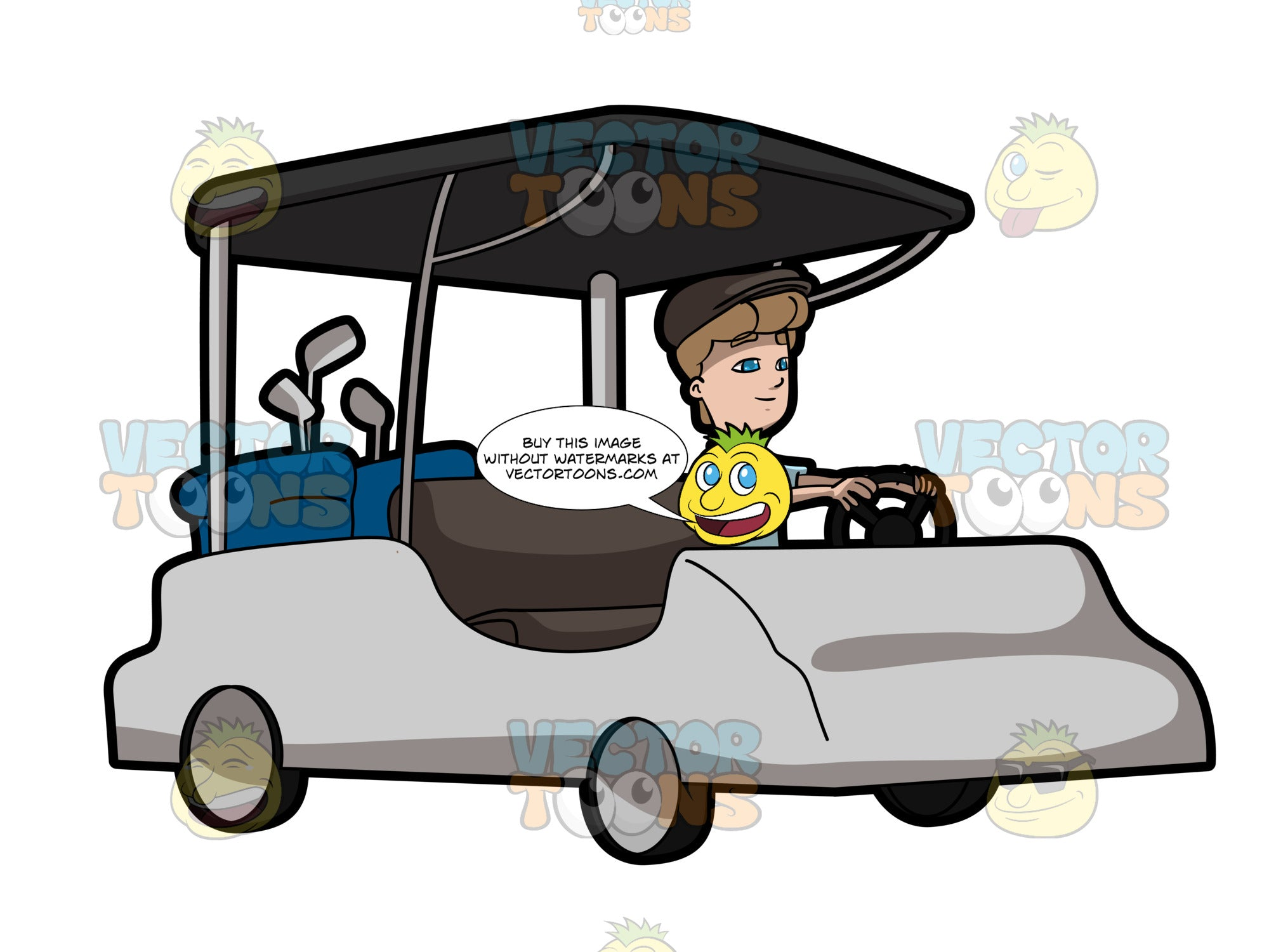 A Man Driving A Golf Cart To Go To The Fairways