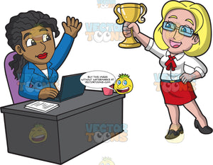 A Female Boss Awarding One Of Her Employees