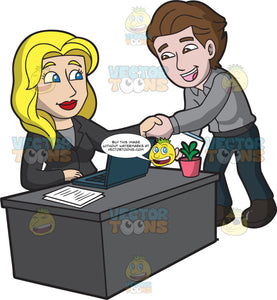 A Female Boss Shaking The Hand Of Her Employee