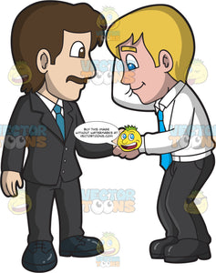 A Male Boss Congratulating A Shy Employee