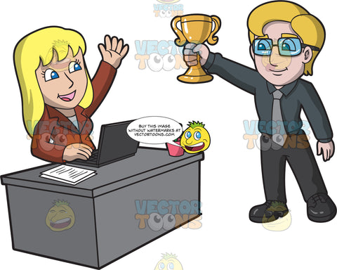 A Male Boss Giving An Award To His Employee