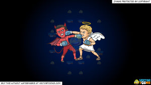 Cartoon clipart: good versus evil on a dark blue and black gradient background