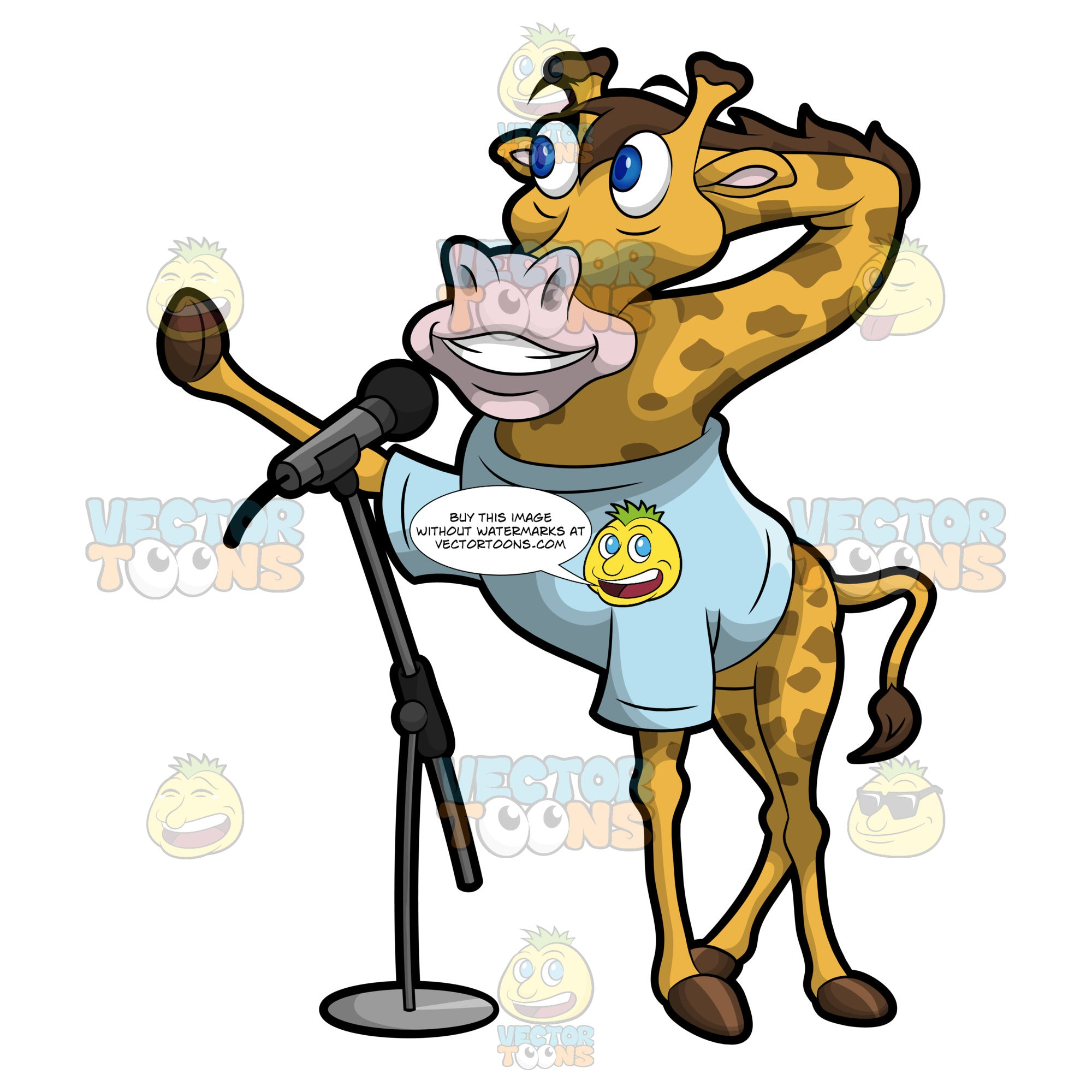Gordy The Giraffe Speaking Into The Microphone