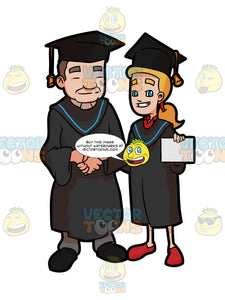 A Woman Shows Her Diploma As She Poses For A Photo With The Faculty Head Of Her University During Graduation
