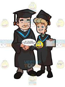 A Man Shows His Diploma As He Poses For A Photo With The Faculty Head Of His University During Graduation