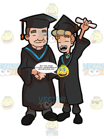 A Man Raising His Diploma As He Poses For A Photo With The Faculty Head Of His Course During Graduation
