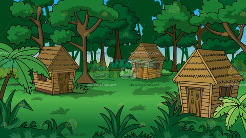 Grass Huts In A Jungle Background